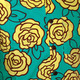 Shortsl. Outlined Roses turquoise-yellow