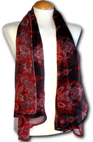 Scarve Paisley black-red