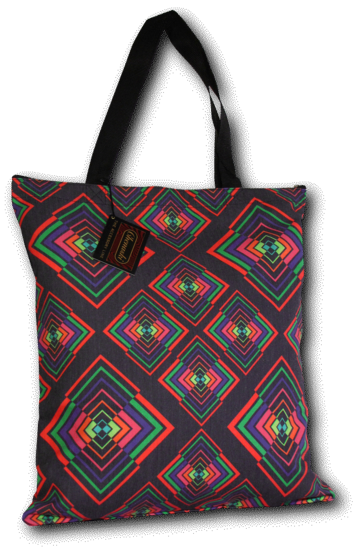 Tote-Bag Rhombus black-colourful