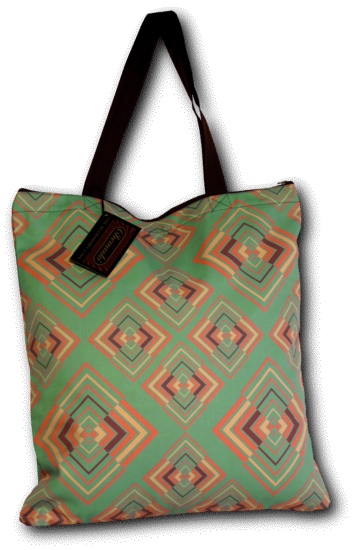 Tote-Bag Rhombus green-rose